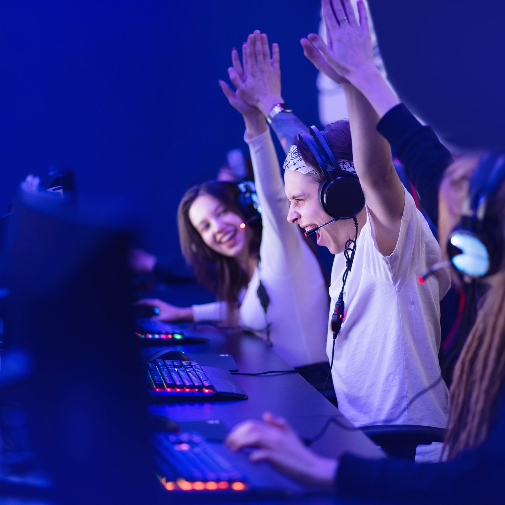 Team professional gamer playing winning tournaments online games computer.